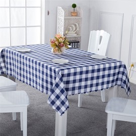 Blue and White Plaids Elegant Style Chemical Fiber Soft 1 Piece Tablecloth