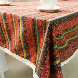 Thick Cotton Ethnic and Noble Style Square Table Runner Cover Cloth