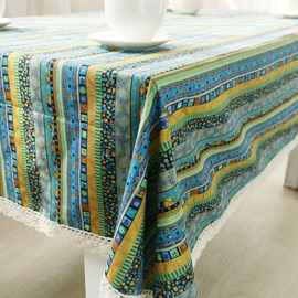Soft Cotton Green Shading with White Lace Ethnic and Concise Style Table Cover