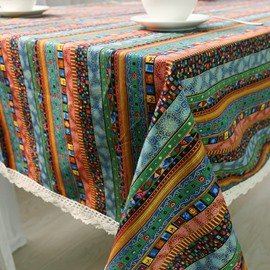 Soft Cotton Blue Shading with White Lace Ethnic Style Table Cloth