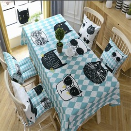 Cartoon Cats and Blue Irregular Patterns Printing Decorative and Durable Square Table Cloth