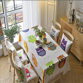 Colorful and Lovely Owls Printing Rectangle Durable and Decorative Dining Table Cover Cloth
