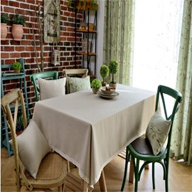 Beige Color Cotton with Lace Printing North European Style Dining Table Cloth