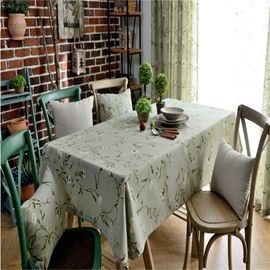 Wonderful Matcha Cotton with Small Flowers Printing Dining Table Cover Cloth