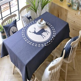 Modern Navy Blue and Lovely Elk Printing Durable Home Dining Table Cover Cloth