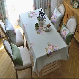 Big Flowers Light Green Color Printing Home and Hotel Fresh Style Table Cover