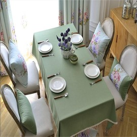 Solid Green Cloth with Lace Printing Beautiful and Elegant Table Runner Cloth Cover