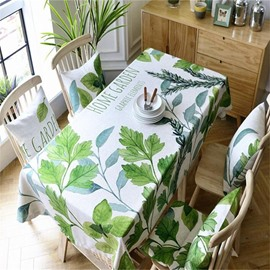 Wonderful Green Leaves Modern and Pastoral Style Square Dining Table Cover Cloth