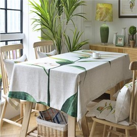 Lovely Cartoon Bird on Green Branches Printing European Fresh Style Home and Hotel Table Cloth