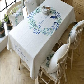 Cute Bird on the Beautiful Floral Rings Printing Polyester Blending Table Cloth