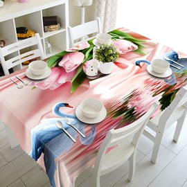 Pink Romantic Flowers and Swans Pattern 3D Tablecloth