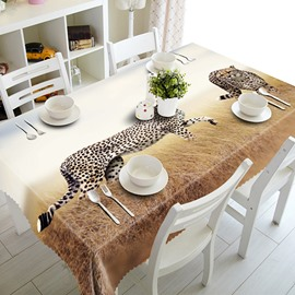 Two African Leopards Pattern Polyester 3D Tablecloth