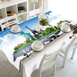 Funny Airplane and City Scenery Pattern 3D Tablecloth