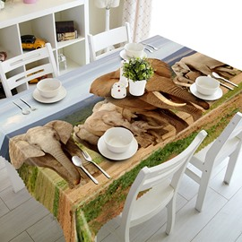 Natural Polyester Elephant Pattern 3D Tablecloth