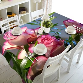 Bright Polyester Pink Roses Pattern 3D Tablecloth