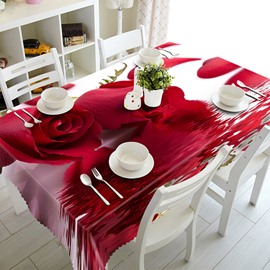 Romantic Red Roses and Water Pattern 3D Tablecloth