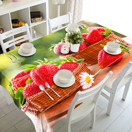 Two Baskets Strawberry and Scenery Pattern 3D Tablecloth