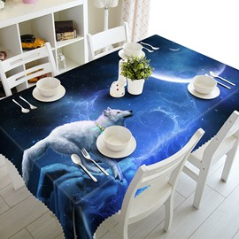 Blue Starry Sky and White Wolf Pattern 3D Tablecloth