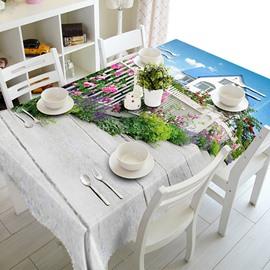 Amazing Villa Flower Fence Pattern 3D Tablecloth