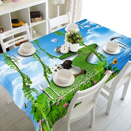 Cute Green Bridge and Running Panda 3D Tablecloth