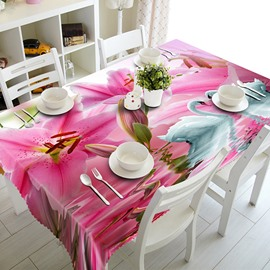 Pink Lily Flowers and Swans Pattern 3D Tablecloth