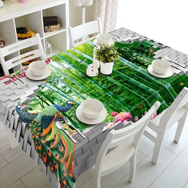 Green Bamboo Forest and Peacocks Pattern 3D Tablecloth