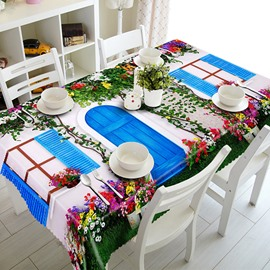 White Flower House and Blue Window Pattern 3D Tablecloth