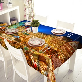 Alive City Night Life Pattern 3D Tablecloth