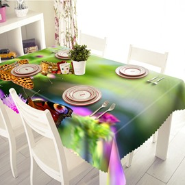 Green Flower and Butterfly Pattern 3D Tablecloth