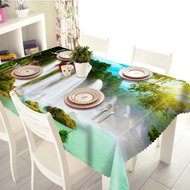 Intoxicating Waterfall and Lake Scenery Pattern 3D Tablecloth