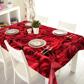 Red Romantic Roses Pattern 3D Tablecloth