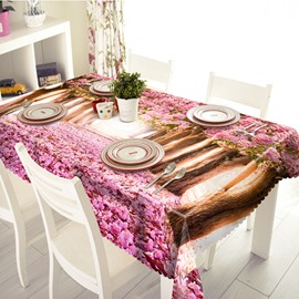 Romantic Polyester Sakura Road Pattern 3D Tablecloth