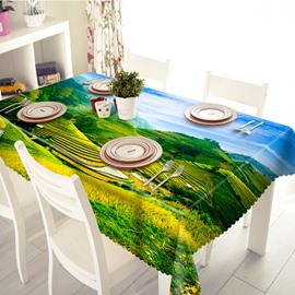 Amazing Inter Mountain Field Scenery Pattern 3D Tablecloth