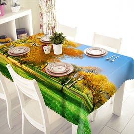 Enjoyable Polyester Forest Fallen Leaves Scenery 3D Tablecloth