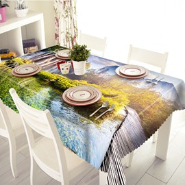 Pleasant Bridge and Landscape Pattern 3D Tablecloth