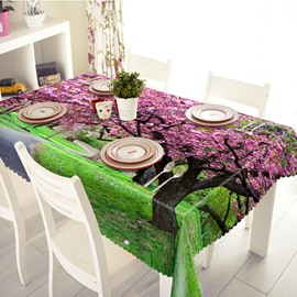 Pink Polyester Sarawak and Lawn Pattern 3D Tablecloth
