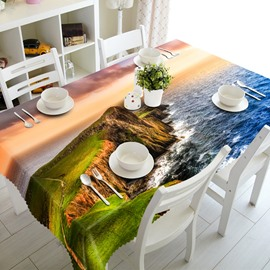 Natural Seaside Scenery Pattern Design Washable Polyester Fibre 3D Tablecloth