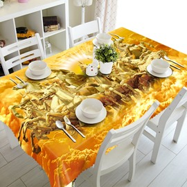 Golden Running Horses Pattern Design Washable Home Decoration 3D Tablecloth
