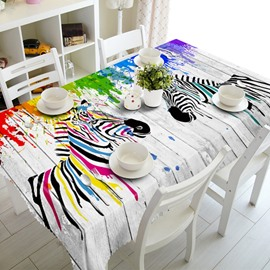 Two Colorful Zebra Prints Design Polyester Fibre 3D Tablecloth