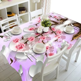 White Heart and Pink Flowers Pattern Design Polyester Fibre 3D Tablecloth