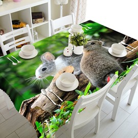 Two Lovely Rabbits in the Forest Washable Dining Room Decoration 3D Tablecloth
