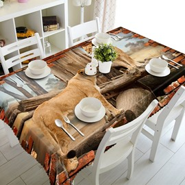 Two Lifelike Lions Standing on the Wood Prints Home Decoration 3D Tablecloth