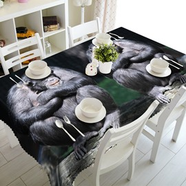 Two Cute Orangutan Prints Design Washable Polyester Fibre 3D Tablecloth