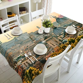 Amazing European Style City Buildings Prints Washable Polyester Fibre 3D Tablecloth