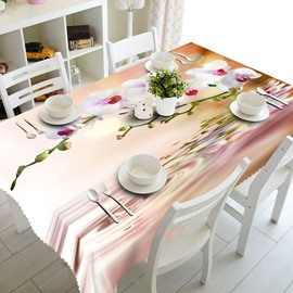 Beautiful Flowers above Ripple Water Prints Dining Room Decoration 3D Tablecloth