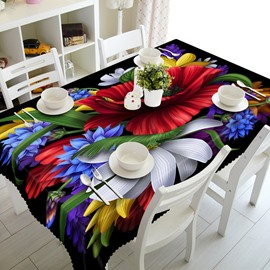 Colorful Flowers Prints Washable Dining Room Decoration 3D Tablecloth