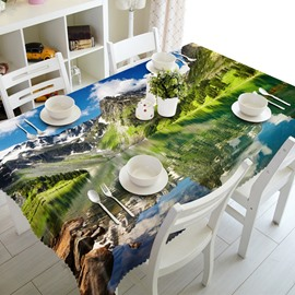 Natural River at the Foot of the Mountain Prints Washable 3D Tablecloth