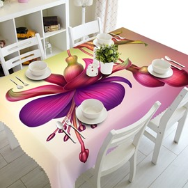 Fresh Pink Flowers Prints Polyester Fibre Washable 3D Tablecloth