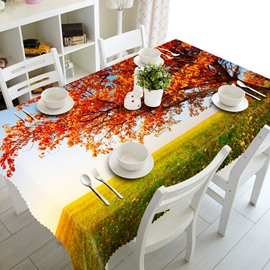 Amazing Autumn Tree in Grassland Prints Dining Room Decoration 3D Tablecloth