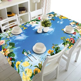 Fresh Blue Sky and Flower Prints Design Home Decorative 3D Tablecloth
